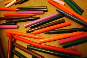 we often use a few used crayons to add some color