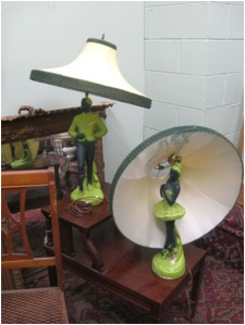 . . . and the find of the day. Pair of ceramic ballerina (male AND female) lamps in lime green. If only I lived closer, haha