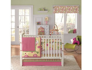 B tried to mimic the colors and whimsy from Bananafish's Bubble Gum Bedding. Photo credit: www.toysrus.com